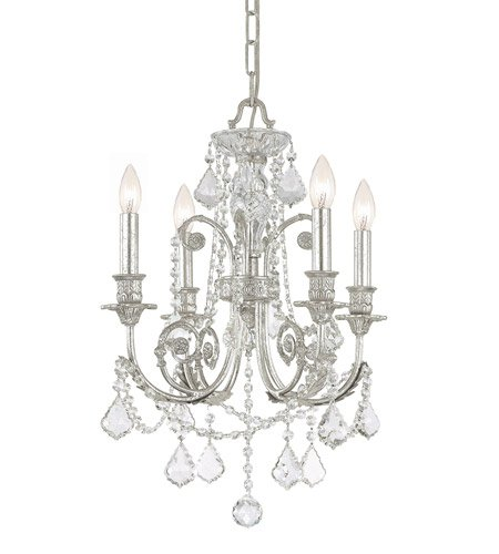 - Mini Chandeliers 4 Light with Olde Silver Clear Swarovski Strass Crystal Wrought Iron 18 inch 240 Watts - World of Lighting
