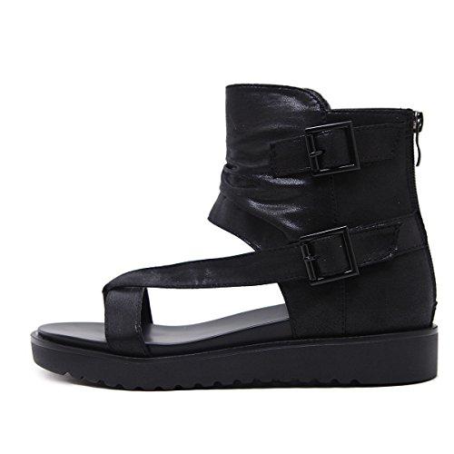 Las Cinturón Transpirable Botas Inferior Grueso Sandalias Clip Black De Cómodo Del Dedo Mujeres Hebilla Cool 0wOqrA0