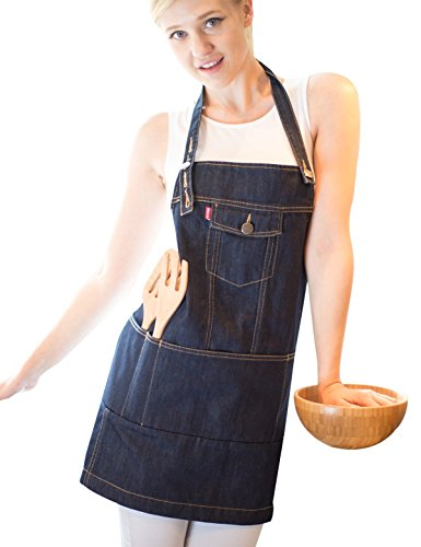 Vantoo Unisex Adjustable Chef Kitchen Denim Apron with Pockets for Men and Women,Indigo Blue (Easy Pinup Hair)