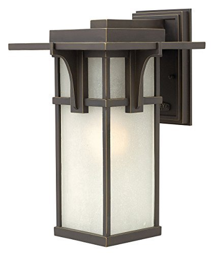 Hinkley 2234OZ Manhattan - One Light Medium Outdoor Wall Mount, Oil Rubbed Bronze Finish with Etched Seedy Glass