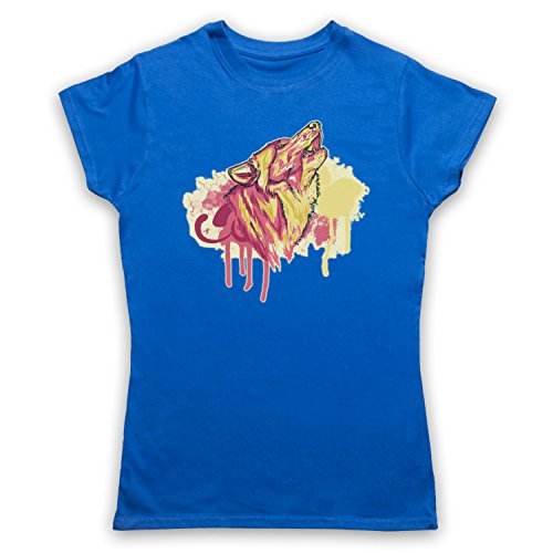 My Icon Art   Clothing Wolf Spray Paint Graffiti Damen T-Shirt Blau P6IY7C bd1c51b8b2