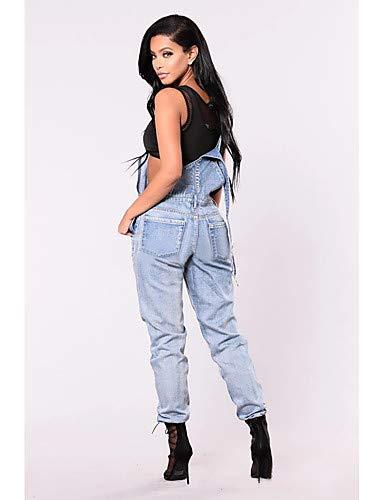 Blue Solide Jeans Exagr Femme amp; Pantalon Gland YFLTZ Bleu Couleur Blanc BvSHIWf