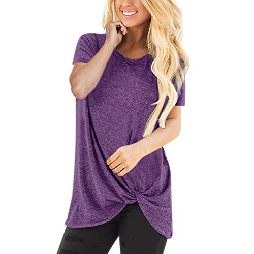 (HIRIRI Summer Soft Loose Women's Tops Twist Knotted Blouses Short Sleeve Round Neck Tunic T Shirt Purple)