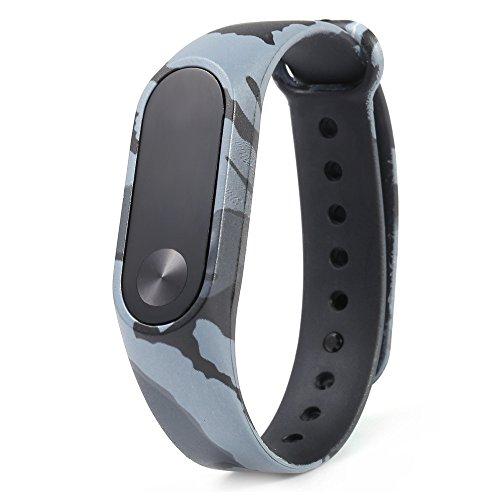 FTXJ Wristbands for XIAOMI MI Band 2, Camouflage Pattern Strap WristBand Bracelet Replacement For Xiaomi MI Band 2 (Gray, 23.50 x 1.80 x 1.00 (Best Ftxj Popular Watches)