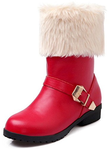 Fluffy Dressy Round Womens Low Red Chunky Toe Heeled Calf Boots Pull Fur Mid On IDIFU Snow EqfW55