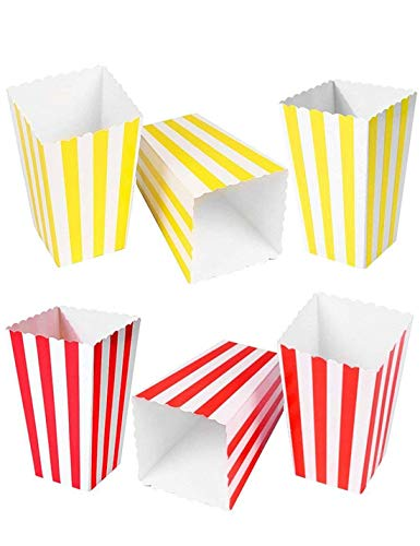 - HansGo Popcorn Boxes, 24PCS Striped Paper Popcorn Boxes Cardboard Candy Container for Birthday Theater Themed Parties Movie Nights Carnivals
