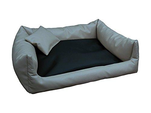 Artur Soja Rex Cuccia Letto Piazza in Eco Pelle XL 90 X 120 colore  Grigio Nero Divano per Cani + Cuscino