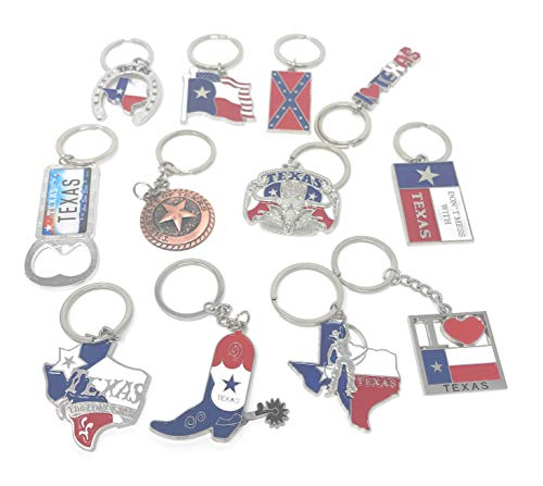 (Texas Bundle Souvenir Metal Keychain 12 Pack-Texas Cowboy,Texas Lone Star on Texas State Map, Don't Mess with Texas, I Love Texas, Longhorn, Texas Seal, Texas Bottle Opener, Texas Cowboy Boot & More)