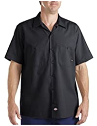 Dickies Occupational Workwear LS535BK 4XL Polyester/ Cotton Men's Short Sleeve Industrial Work Shirt, 4X-Large, Black