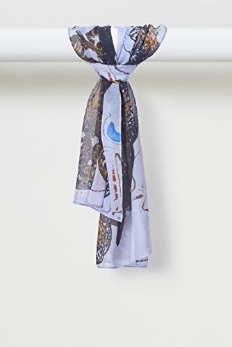 Japanese Orchid Scarf Silk Crepe de Chine in French Blues Black Gold by Louis Jane  (''Where Nature Meets Art''TM)