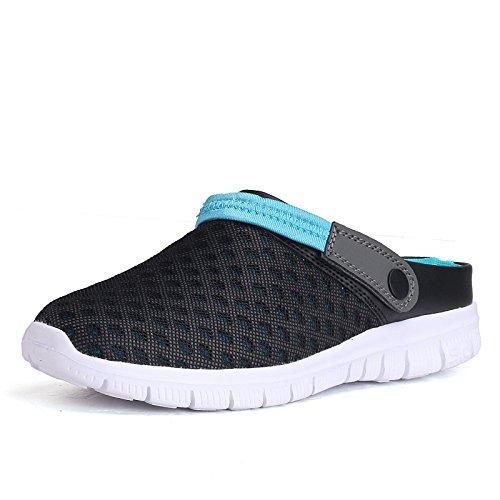 - Kauneus Mens Mesh Sandals Garden Clog Shoes Breathable Summer Indoor Outdoor Slippers Lightweight Walking Sports Sandals Black