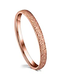 Love Beauties 2mm Women's Titanium Rose Gold Wedding Band Ring