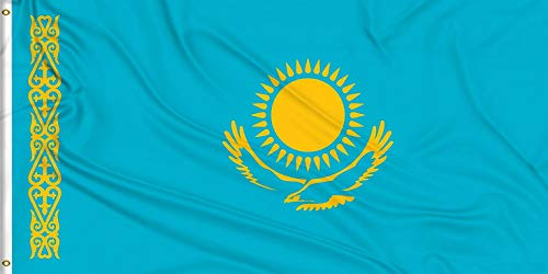 Aimto 3x5 ft Kazakhstan flag - bright colors and anti-fading materials - polyester canvas and brass buttonhole - quality assurance