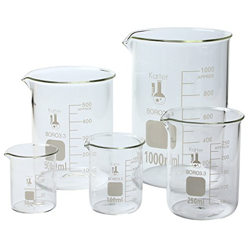 Karter Scientific 213A2 Borosilicate Glass Low Form Glass Beaker, 50/100/250/500/1000 mL (Pack of 5)