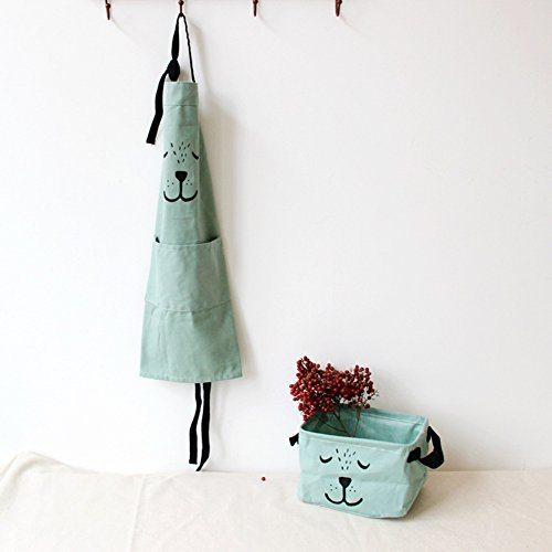 9OVE, Apron, Home Kitchen Tool, Parent-Child Cartoon Cookers Animal Print Cotton Linen - Green Kid ()