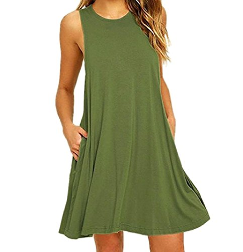 Pocket Vest Solid Suspender Women Above The Sleeveless Green Army Knee Dress Coolred IwESxaq6I
