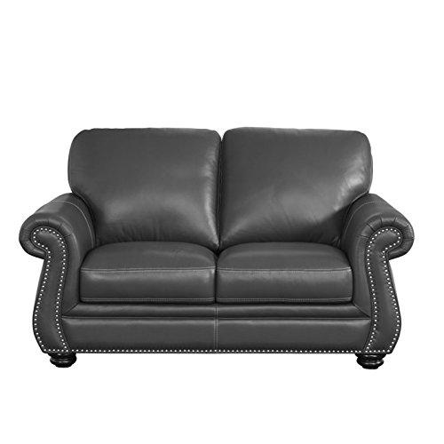 Abbyson Living Austin Leather Loveseat in Gray
