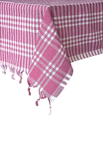 Madame Gayda Tablecloth Checkered Buffalo Check Plaid Linen Cotton Picnic Blanket Table Cover Mantel Pink (Pink, 64x64 inches) ()