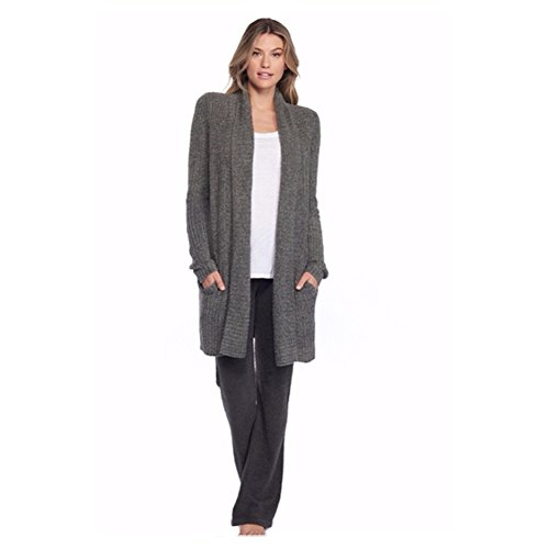 Barefoot Dreams Cozychic Lite Montecito Cardi (Small, Heathered Loden/Carbon)