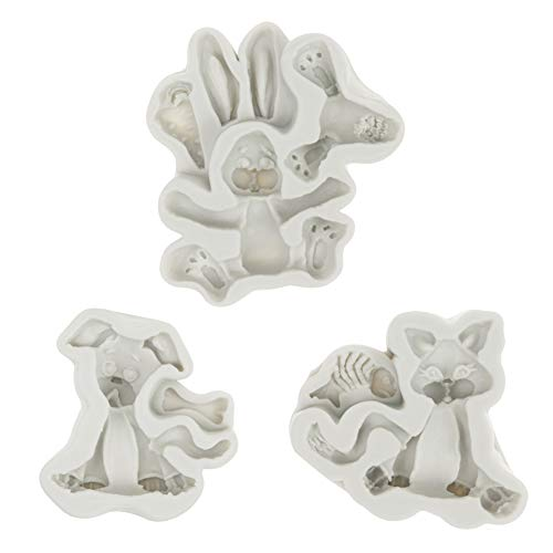 SAKOLLA 3D Animals Theme Cake Fondant Molds - Cute Puppy Dog Rabbit Cat Silicone Mold for Cake Decorating, Cupcake Decor, Polymer Clay, Candy, Chocolate. Sugar Craft - Set of 3 (3d Clay Molds)
