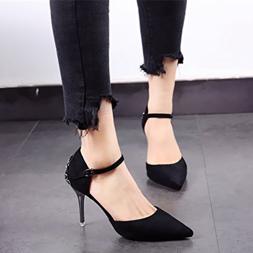 Elegant Heels Head MDRW 34 Shoes Lady Black Spring Metal Women Suede Single Character Leisure Sharp Temperament Shoes Buckle Work Fine 9Cm Heel 6rx5w1Rx
