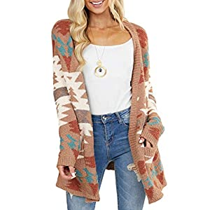 Dokotoo Womens Winter Warm Open Front Long Sleeve Aztec Print Cardigans Sweaters Casual Knitting Coats Outwear Chunky…