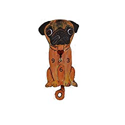 Wall Clock with SwingingTail Pendulum, Cat or Dog, Wood Frame, 31 Different Designs, Requires 2 AA Batteries(not included) for Clock and Pendulum,Quartz Movement (orange, yellow and black)
