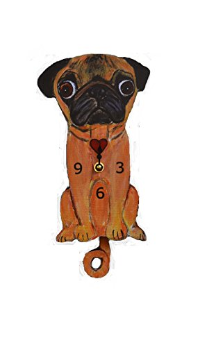 gingTail Pendulum, Cat or Dog, Wood Frame, 31 Different Designs, Requires 2 AA Batteries(not included) for Clock and Pendulum,Quartz Movement (orange, yellow and black) (Wood Cat Clock)