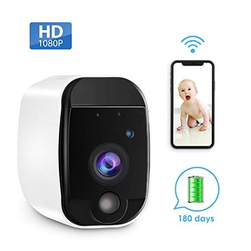 GEREE Wireless Home Security Camera with Rechargeable, HD Video,  Indoor/Outdoor, Motion Detection, Two-Way Audio,Night Vision,Wall  Mount(Battery