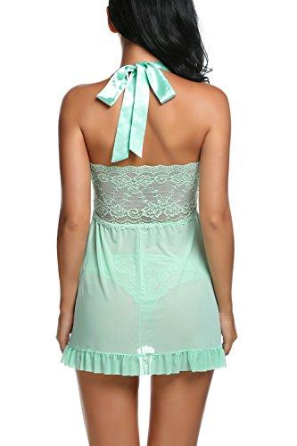 Avidlove-Women-Sexy-Nightwear-Halter-Lace-Strap-Chemise-Babydoll-Lingerie-Set