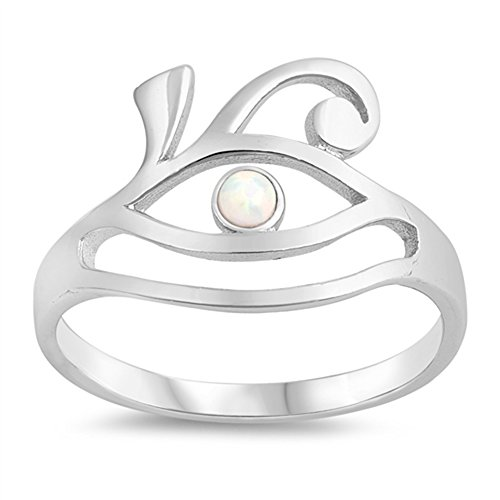 - White Simulated Opal All Seeing Eye Ring 925 Sterling Silver Evil Wave Band Size 9