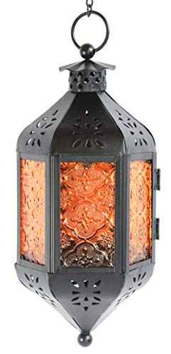(Amber Glass Hanging Moroccan Candle Lantern with Chain)
