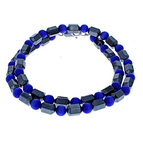 (Fiber Optic) & Hematite (Hemalyke) Facet Mens Beaded Necklace - 16