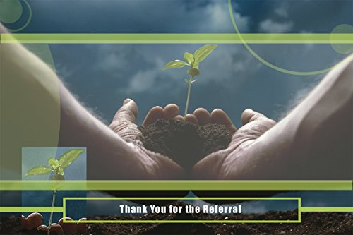 Thank You Greeting Cards - T7201. Business Greeting Card Featuring Hands Holding a Budding Plant and Referral Thank You Message. Box Set Has 25 Greeting Cards and 26 Bright White Envelopes.
