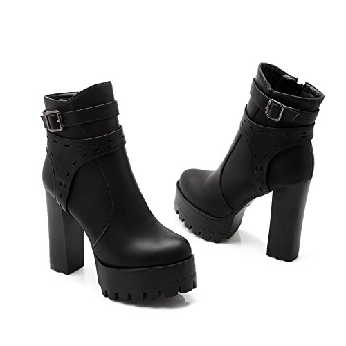 Girls Black Leather Buckle Heels Boots Imitated 1TO9 Platform Chunky d4OPn8dxH