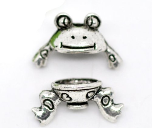 PEPPERLONELY 5 Sets Antique Silver Frog Bead Caps (Fits 8-10mm Beads) Beading Supplies