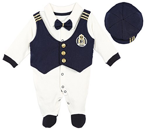 Baby Boy Wedding Clothes (Lilax Baby Boy Sailor Outfit Footie with Hat 2 Piece Set 3-6 Months Navy)