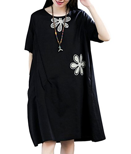 YESNO Y83 Women Girls Casual Loose Floral Dress 100% Linen Handcraft Embroidery 'A' Skirt Short Sleeve Pocket