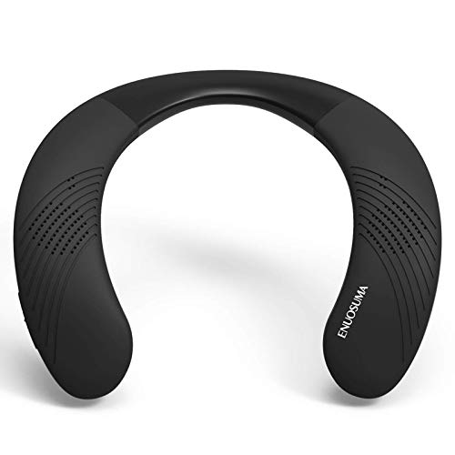 ENUOSUMA Neckband Bluetooth Speakers, Wireless Wearable Speaker with True 3D Stereo Sound, Portable Personal Speakers with 12H Long Playtime, Bluetooth 5.0 Built-in Mic, Comfortable Design, Black