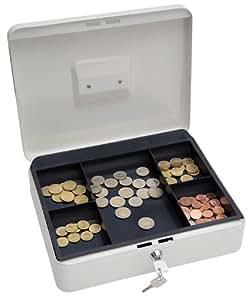 Wedo 145400X - Caja metálica para dinero (2 llaves, soporte para monedas desprendible, acero soldado, 30 x 24 x 9 cm), color blanco