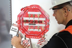 Accuform KCC624 STOPOUT Look 'n Stop Group Lock Box, 13'' Length x 13'' Width x 3-1/2'' Depth, Plastic, Red with Clear Front by Accuform