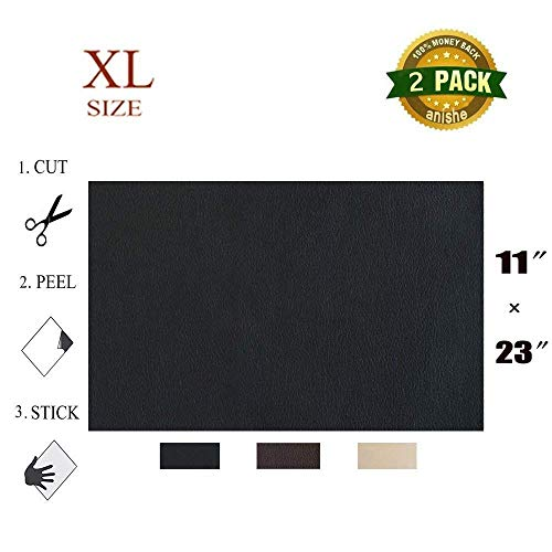 Anishe Large Size Leather Repair Patch, First-aid for Sofas Car Seats, Handbags Jackets, Large Size, Plain 11-inch by 23-inch, Black