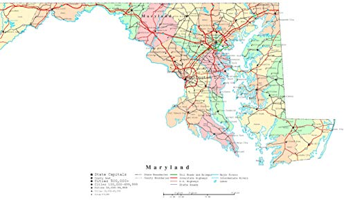 Home Comforts Laminated Map - US 50 from Maryland to Wv Map with County Boundaries for Alluring Vivid Imagery Poster Print 24 x 36 (Map Maryland Counties)