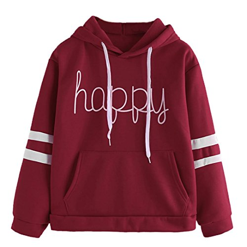 Price comparison product image BCDshop Women Hoodie Sweatshirt Happy Print Long Sleeve Casual Pullover Tops Blouse (XL,  Red)