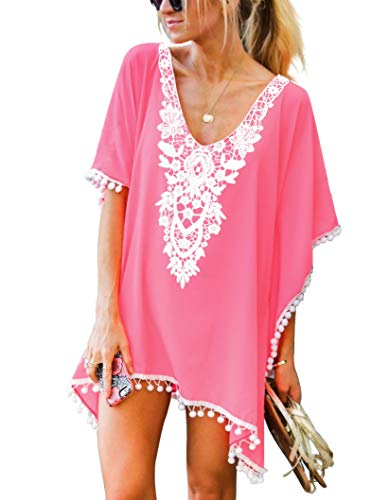 Adreamly Women's Pom Pom Trim Kaftan Crochet Chiffon Swimwear Bathing Suit Beach Cover Up Free Size Coral Pink (Hot Bathing Suits)