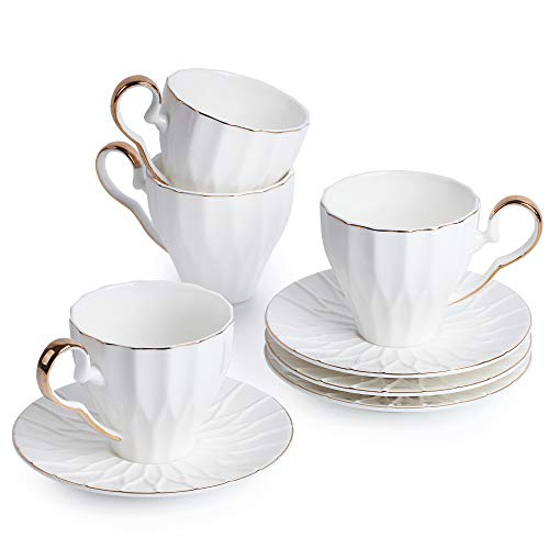BTäT- Tea Cups and Saucers, Set of 4 (6 oz) with Gold Trim and Gift Box, Cappuccino Cups, Coffee Cups, White Tea Cup Set, British Coffee Cups, Porcelain Tea Set, Latte Cups, Espresso Mug, White Cups ()