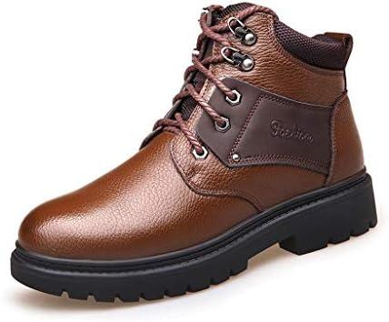 冬のメンズクラシック雪のブーツ暖かいプラスベルベットフェイクレザーファッションカジュアルワークブーツノンスリップウェアラブルブラックレースアップ (色 : 褐色, サイズ : 24.5 CM)