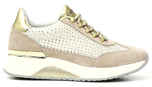 CAFèNOIR Turnschuhe CAF Noir DA514 Schuhe in Wildleder und Mikrofaser mit Strass Geschnürt Beige