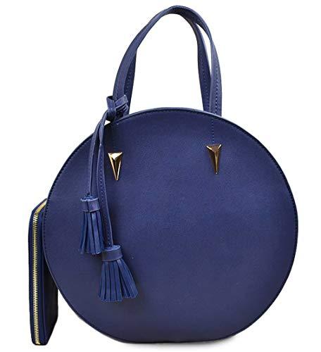 Handbag Republic 3-Compartment Round Satchel w/Crossbody Strap + Wallet (Navy) ()