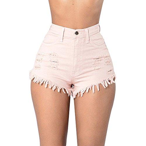 Taille de Jeans Mode Dchir t Rose Dcontract Plage Femmes Mini Courts Denim Pantalons Pantalon Hot Haute Shorts Trou laamei qE0g6Hx